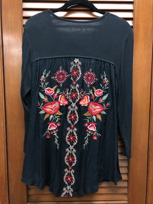 Caite Embroidered Black Tunic