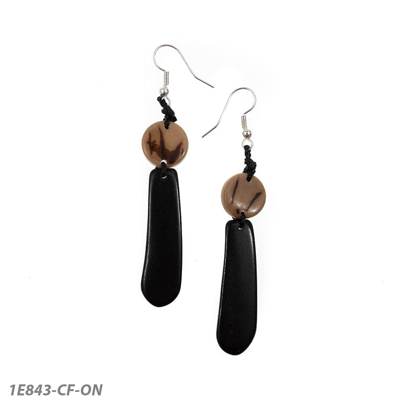 Tagua Sonia Earrings-Black & Tan