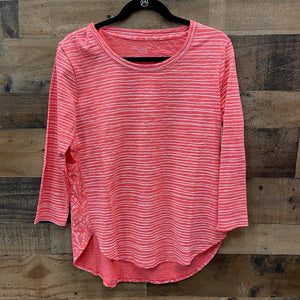 Escape Striped 3/4 Sleeve Top-White and Coral