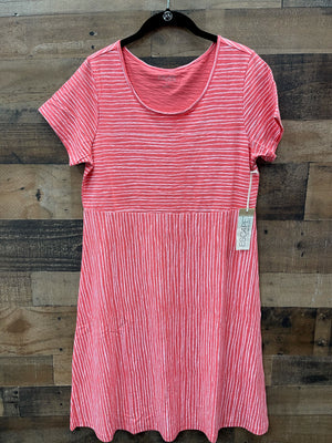 Escape Striped Tee Dress-White and Coral
