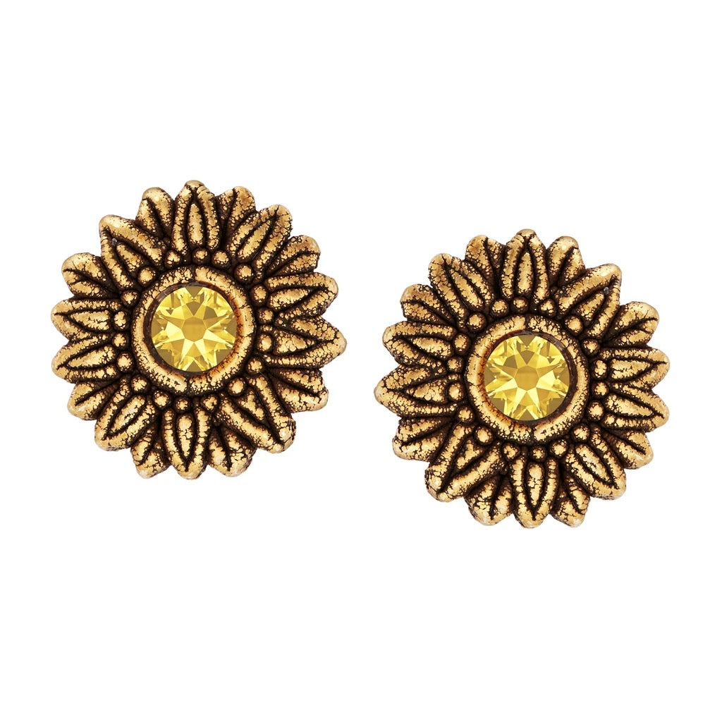 Luca + Danni Sunflower Earrings-Gold