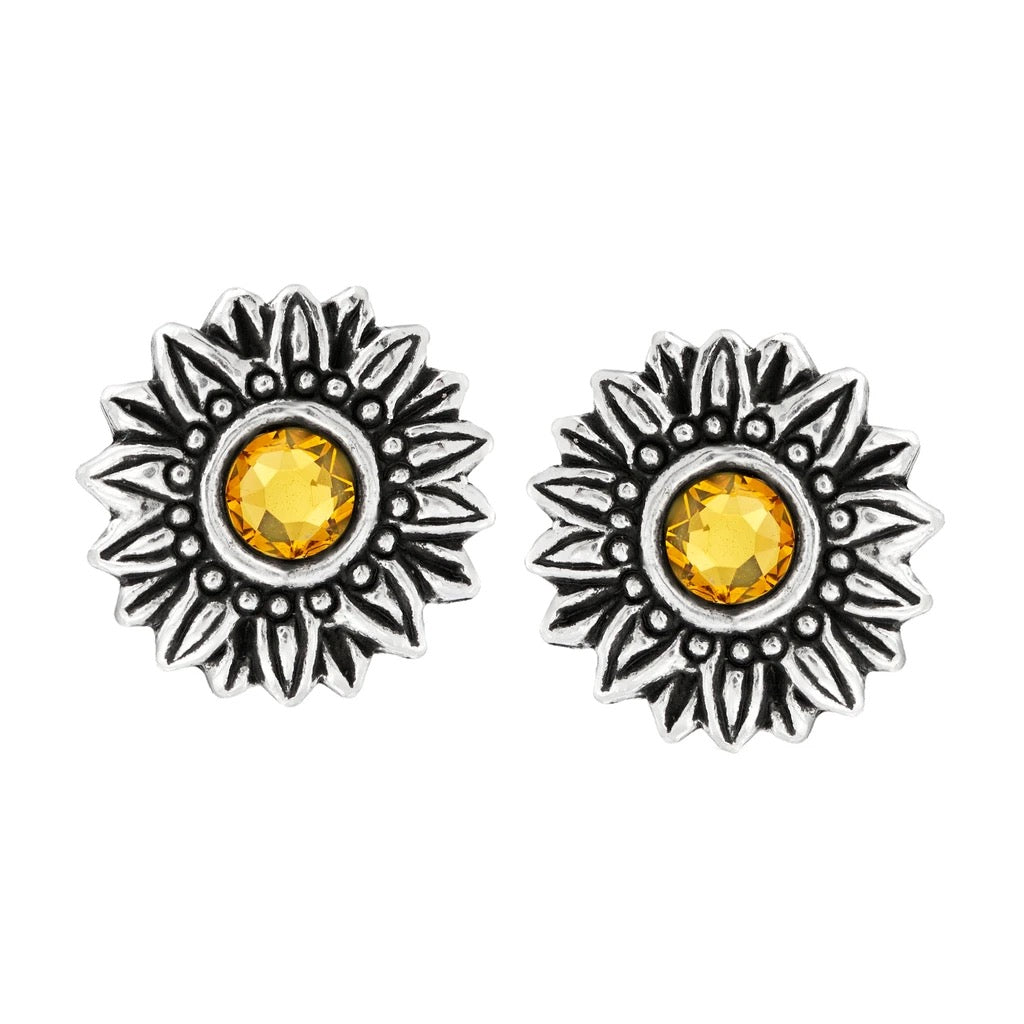 Luca + Danni Sunflower Earrings-Silver