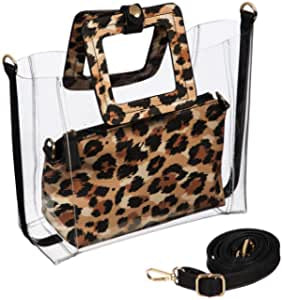 Clear Leopard Bag with Pouch