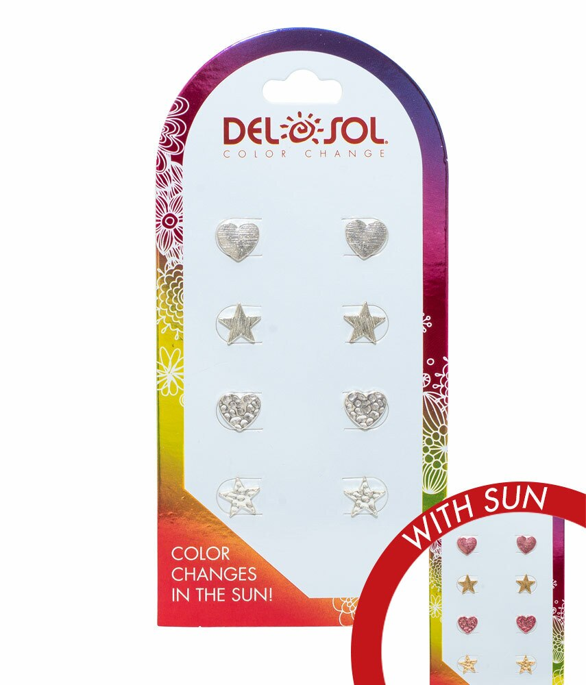 Del Sol Color Changing Earrings-Hearts and Stars