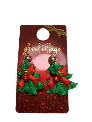 Global Village Jingle Christmas Tree Earrings