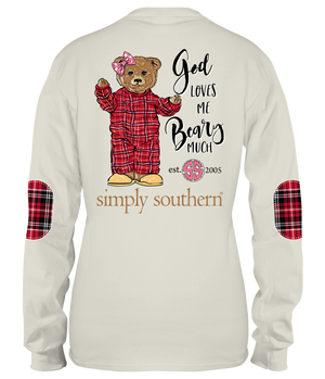 Simply Southern Long Sleeve PJ Teddy Bear T-Shirt