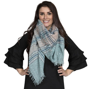 Simply Southern Light Pink And Teal Blanket Scarf