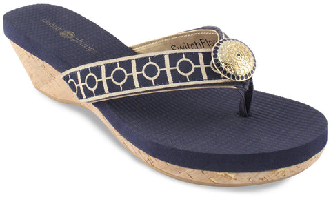 Lindsay Phillips Yoga Lynne Navy Wedge Shoe