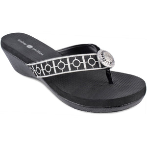 Yoga Lynne Black Wedge Sandal
