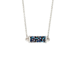 Druzy Tube Necklace in Metallic Blue