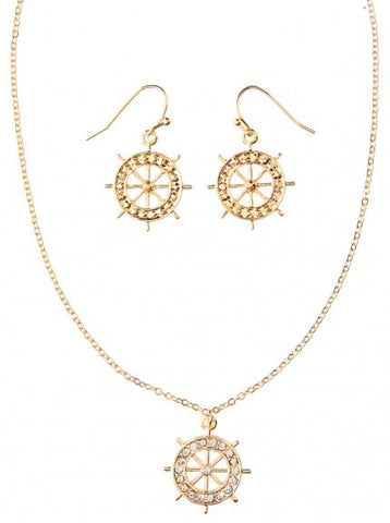 Gold Boat Wheel Necklace Set