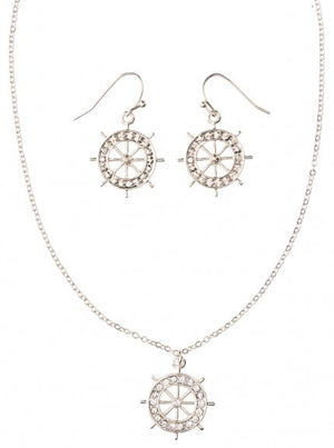 Silver Boat Wheel Necklace Set