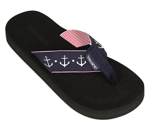 Navy Anchor Flip Flops