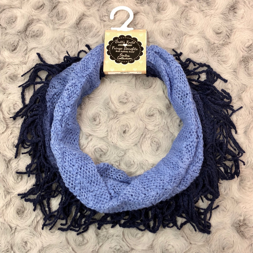 Britt's Knits Navy Ombre Fringe Infinity Scarf