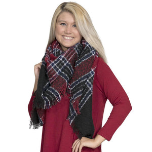 Simply Southern Navy And Red Blanket Scarf