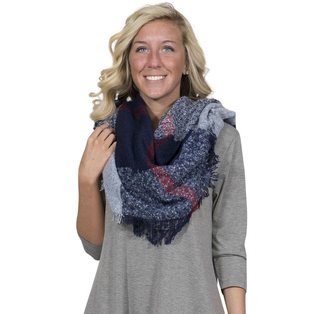 Simply Southern Navy And Light Blue Blanket Scarf