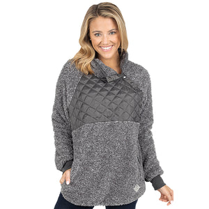Simply Southern sherpa pullover with patch in dark grey.
