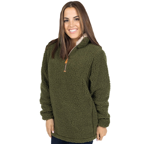 Simply Southern sherpa pullover with quarter zip in army green.