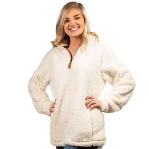 Simply Southern sherpa pullover with quarter zip in cream.