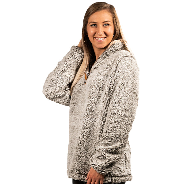 Simply Southern sherpa pullover with quarter zip in heather grey.