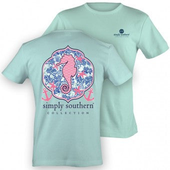 Simply Southern Seahorse T-shirt in Celedon Green
