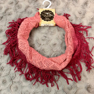 Britt's Knits Pink Ombre Fringe Infinity Scarf
