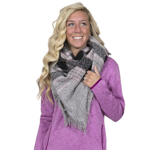 Simply Southern Pink And Black Blanket Scarf