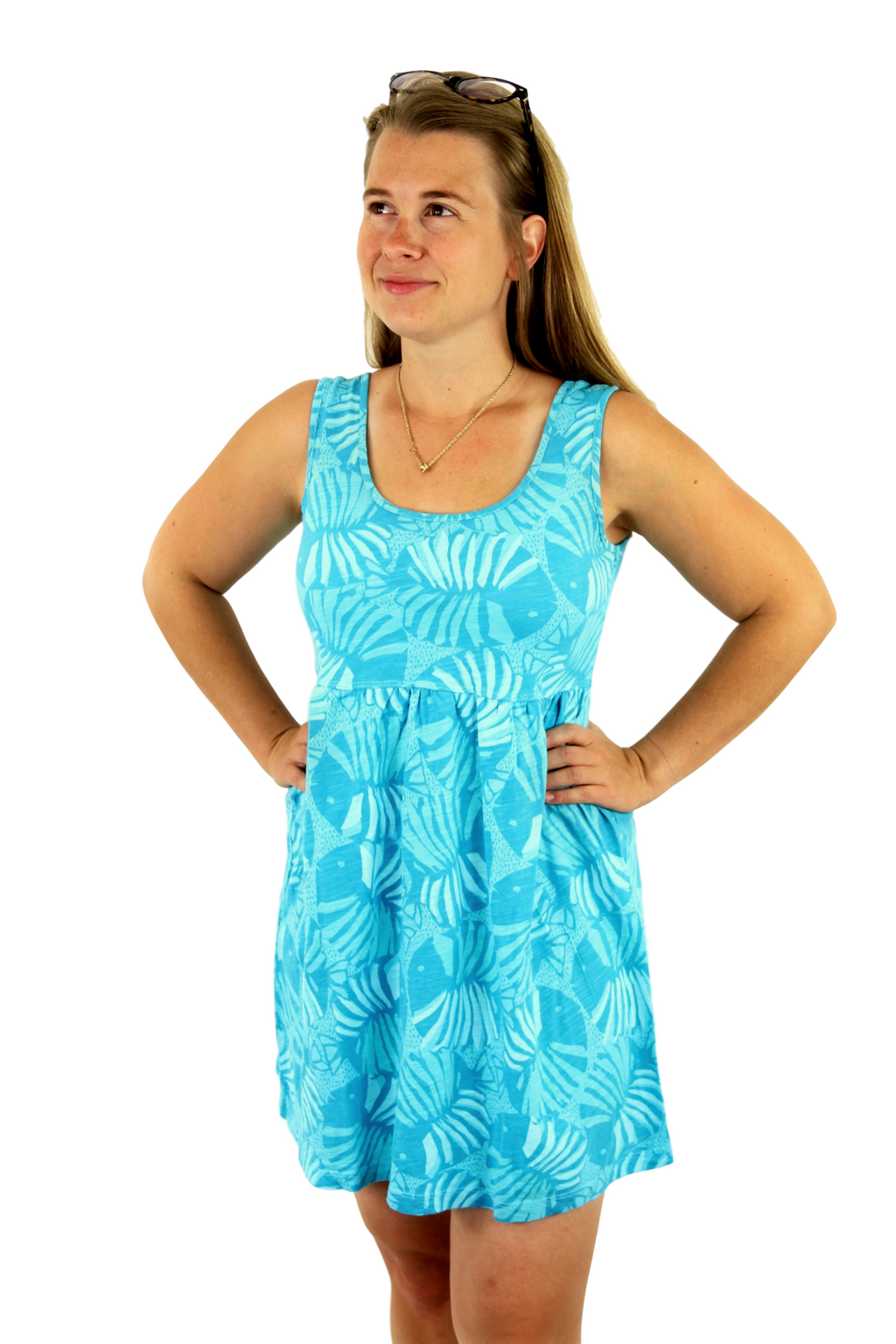 Sun Moda Azure Poolside Cotton Babydoll Dress