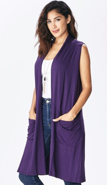 Emma's Closet Duster Vest-Purple