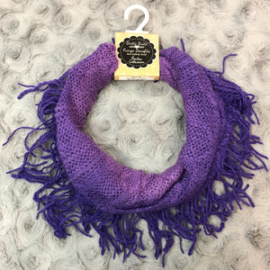 Britt's Knits Purple Ombre Fringe Infinity Scarf