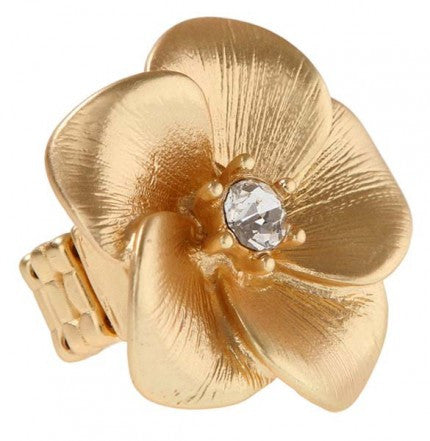 Gold Tone Flower Stretch Ring