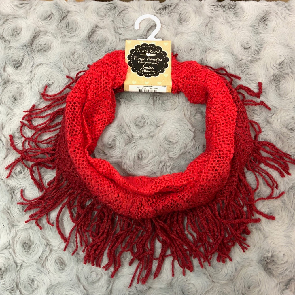 Britt's Knits Red Ombre Fringe Infinity Scarf
