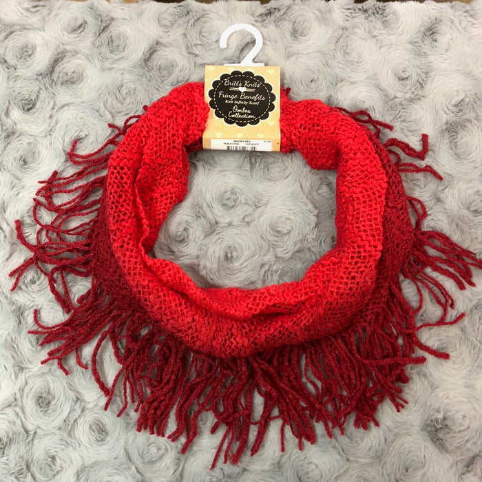 Red Ombre Fringe Infinity Scarf