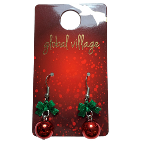 Global Village Red Ornament Earrings