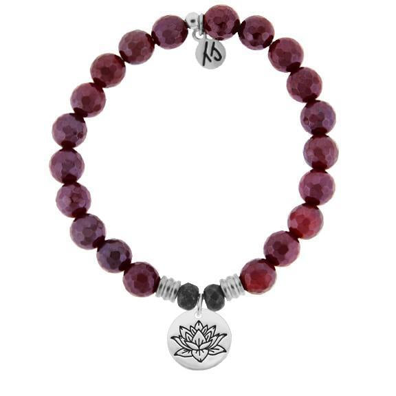 T. Jazelle Red Ruby Agate Lotus Bracelet