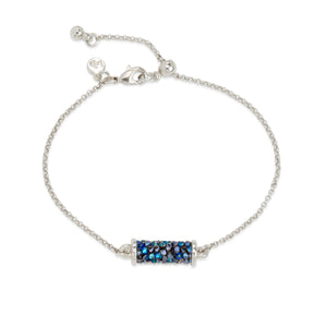 Druzy Tube Slider Bracelet in Metallic Blue - Luca + Danni