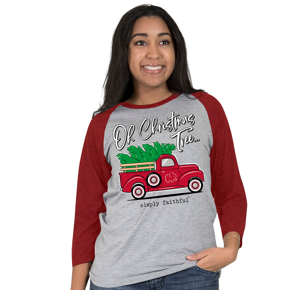 Simply Faithful Oh Christmas Tree Baseball T-Shirt