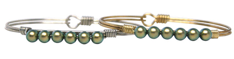 Iridescent Green Pearl Bangle Luca + Danni