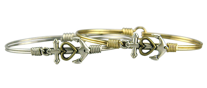 Seaside Bangle, Anchor with Heart - Luca + Danni