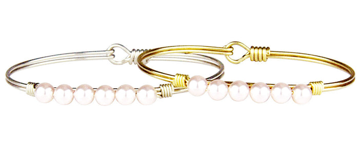 Pearls Bangle, Baby Pink Pearl - Luca + Danni
