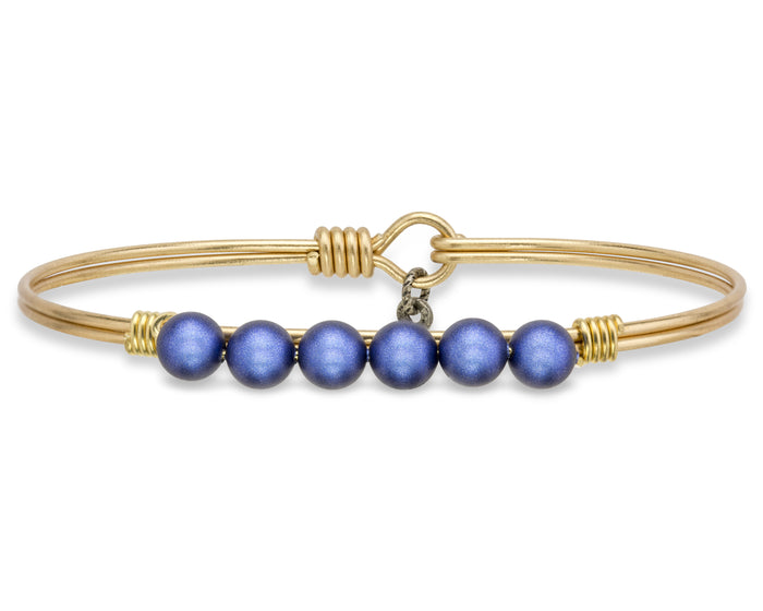 Pearls Bangle, Lapis Blue Pearl - Luca + Danni