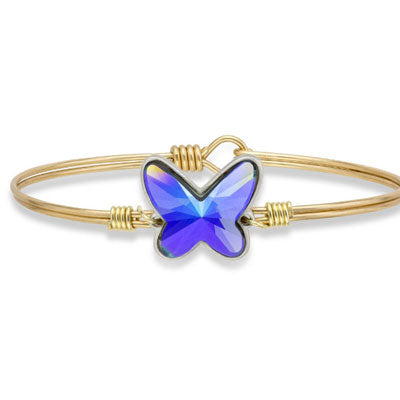 Crystal Arctic Blue Butterfly Bangle - Luca + Danni