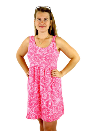iCantoo Pink Santa Barbara Cotton Babydoll Dress