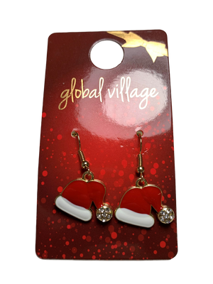 Global Village Santa Hat Earrings