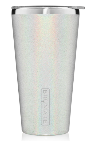 BrüMate Pint Glass 20oz Glitter White