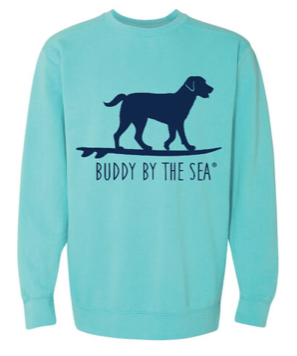 Buddy by the Sea Classic Crew Sweatshirt-Lagoon