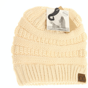 Criss Cross Knit Beanie-Toffee