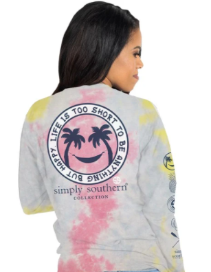 Simply Southern Happy Tie Dye Long Sleeve