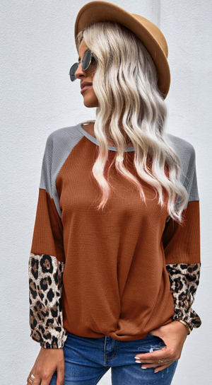 Leopard Cuff Two-Toned Top