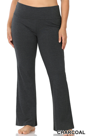 Cotton Fold Over Yoga Pants-Charcoal
